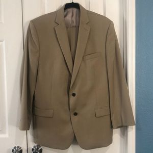 Calvin Klein tan suit labeled 42L -been altered